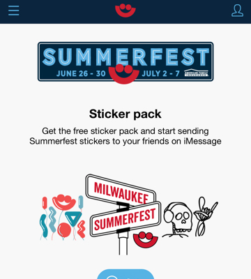 Summerfest App iOS Sticker Pack