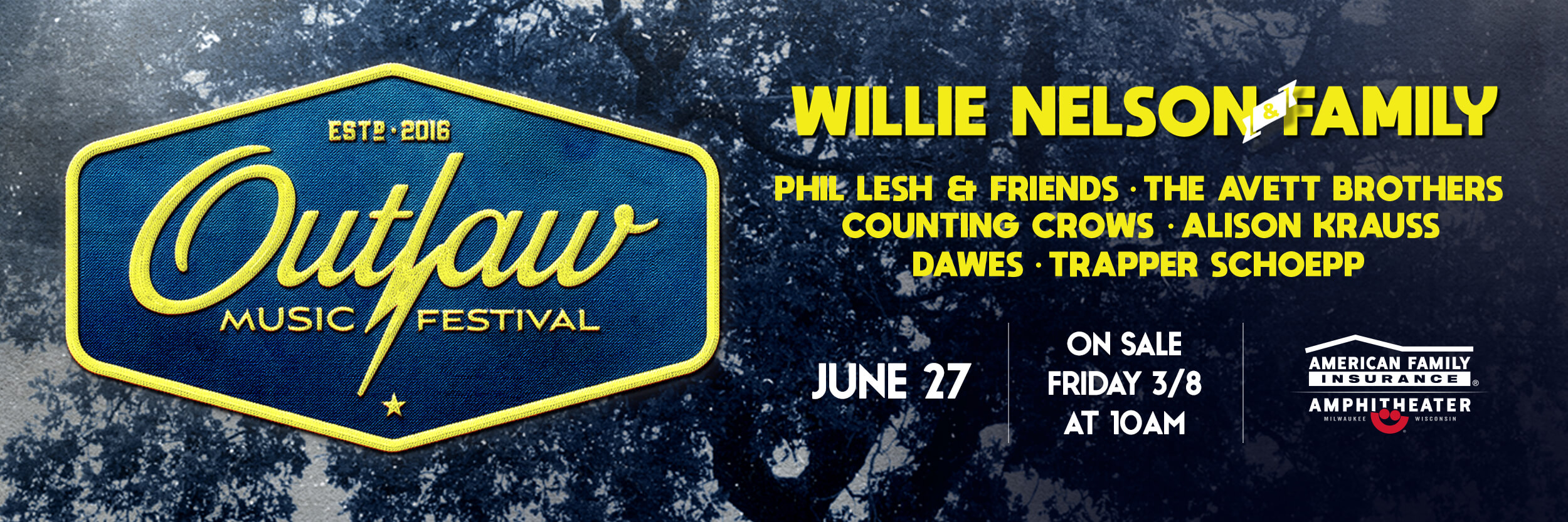 Willie Nelson & Family, Phil Lesh & Friends, The Avett Brothers, Counting Crows, Alison Krauss, Dawes, and Trapper Schoepp Thursday, June 27, 2019 at the American Family Insurance Amphitheater.