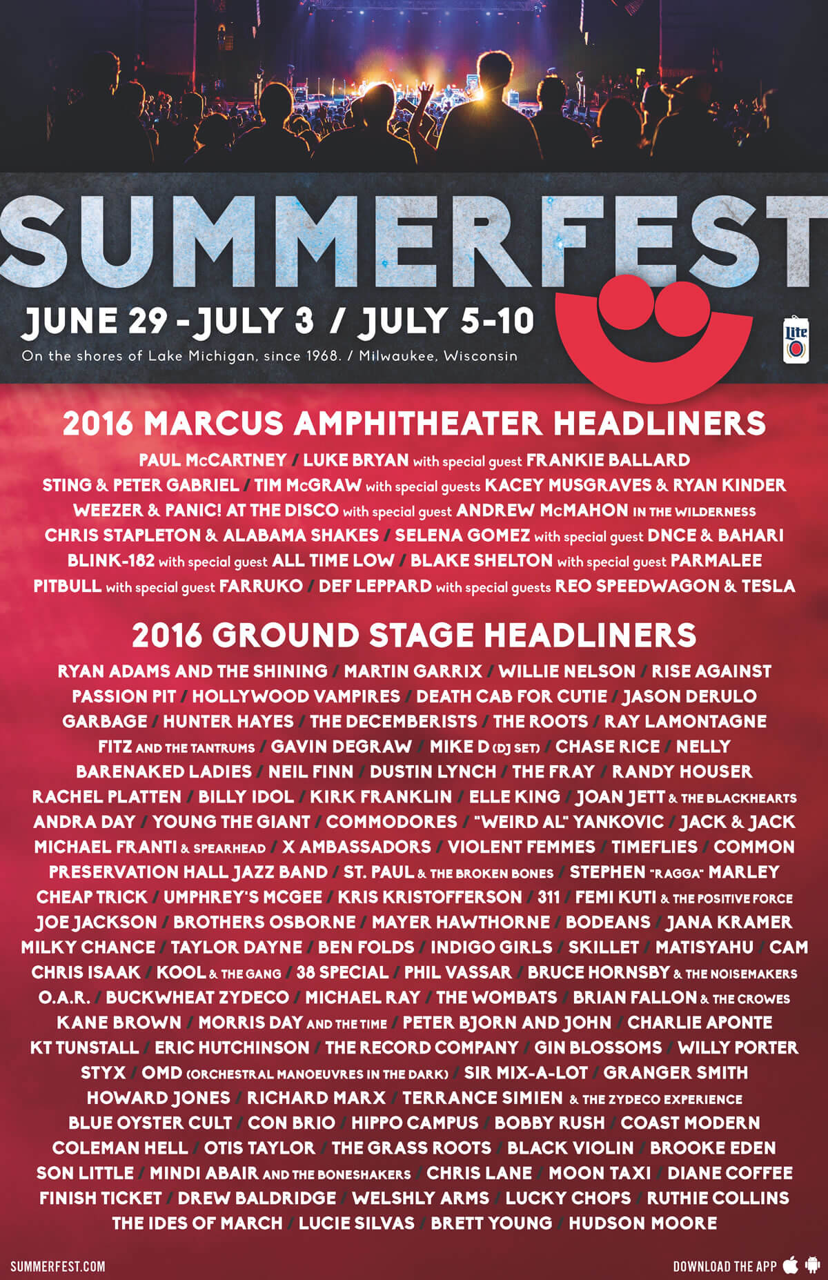 2016 Lineup | Summerfest, The World's Largest Music Festival