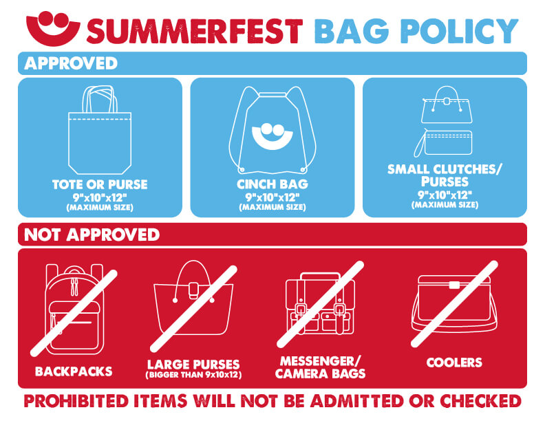 Bag policy at Summerfest. No Backpacks or bags larger than 9x10x12