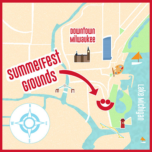 Animated map of Milwaukee area pointing out Summerfest